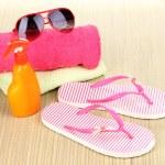 Beach accessories on mat — Stock Photo #13536461