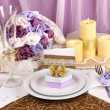 Serving fabulous wedding table in purple and gold color on white and purple — Stock Photo