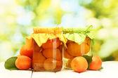 консервированные абрикосы в банки и сладких абрикосов на деревянный стол на зеленом backg — Стоковое фото