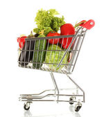 Fresh vegetables in metal trolley isolated on white background — Stock Photo