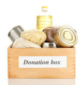 Donation box with food isolated on white — Stock Photo