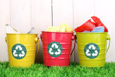 Recycling bins on green grass near wooden fence — Stok fotoğraf
