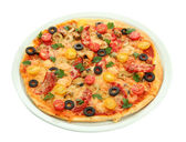 Tasty pizza on the plate isolated on white — Stock Photo