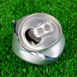 Crumpled empty can on grass — Stock Photo