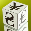 Stock Photo: Forex. currency in the white dices on green background