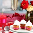 Table setting in honor of Valentine — Stock Photo