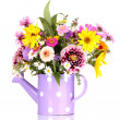 Stock Photo: Beautiful bouquet of bright flowers in watering cisolated on white