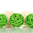 Wicker bamboo balls isolated on white - Stock Photo