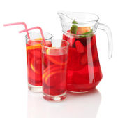 Sangria in jar and glasses, isolated on white — Stock Photo