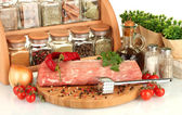 Composition of raw meat, vegetables and spices on white background close-up — Stock Photo