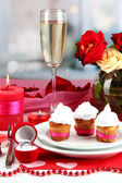 Table setting in honor of Valentine — Photo