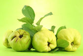 Sweet quinces with leaves, on green background — Stock Photo