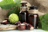 Medicine bottles with chestnuts and leaves, on burlap background — Stock Photo