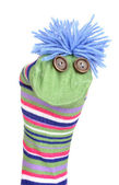 Cute sock puppet isolated on white — 图库照片