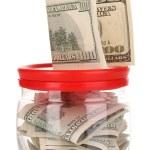 klart glasburk för tips med pengar isolerad på vit — Stockfoto