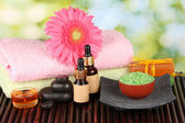 Spa setting on green background — Stock Photo