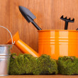 Green moss and watering can with gardening tools on wooden background — Stock Photo #13648957