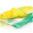 Stock Photo: Fresh corn cob on napkin isolated on white