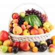Stock Photo: Still life of fruit in basket isolated on white