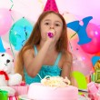 Little beautiful girl celebrate her birthday — Stock Photo
