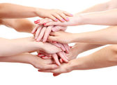 Group of young's hands isolated on white — Stock Photo