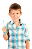 Funny little boy with toothbrush isolated on white — Stock Photo