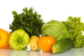 Colorful fresh vegetables on white background close-up — Stock Photo