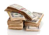 Stacks of dollars isolated on white — Stock Photo