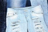 很多牛仔裤特写 — 图库照片