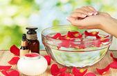Spa-behandlingar för kvinnliga händer, på grön bakgrund — Stockfoto