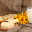 Butter on wooden holder surrounded by bread and milk on sacking background — Stock Photo #13650178
