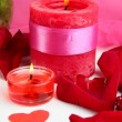 Decorated candles on celebratory table close-up — Stock Photo #13651775