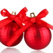 Beautiful red Christmas balls isolated on white — Stock Photo #13652399