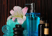 Cadre magnifique spa sur fond de bambou avec réflexion — Photo
