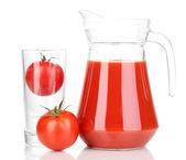 番茄汁在投手上白色隔离 — 图库照片