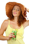 Smiling beautiful girl with beach hat and cocktail isolated on white — Stock Photo