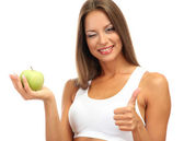 Beautiful young woman with green apple, isolated on white — Stock Photo