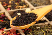Assortment of dry tea in wooden box, close up — Stock Photo