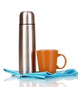 Metal thermos with cup isolated on white — Stock Photo