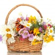 Beautiful bouquet of bright wildflowers in basket, isolated on white — Stock Photo #13692682