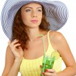 Royalty-Free Stock Photo: Smiling beautiful girl with beach hat and cocktail isolated on white