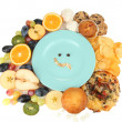 Stock Photo: Blue plate surrounded by useful and harmful food isolated on white