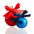 Beautiful red and blue Christmas balls isolated on white — Stock Photo