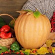 Excellent autumn still life with pumpkin on wooden table on wooden backgrou — Stock Photo #13693825