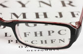 Eyesight test chart with glasses close-up — Stock Photo