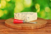 сыр с плесенью и нож на разделочной доске на ярко зеленый фон — Стоковое фото
