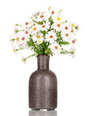 Beautiful bouquet of white flowers in vase isolated on white — Stock Photo