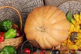 Excellent autumn still life with pumpkin on sacking — Stockfoto