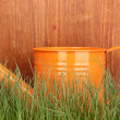 Green grass and watering can on wooden background — Stock Photo