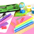 Various school supplies close-up isolated on white — Stock Photo #13729683